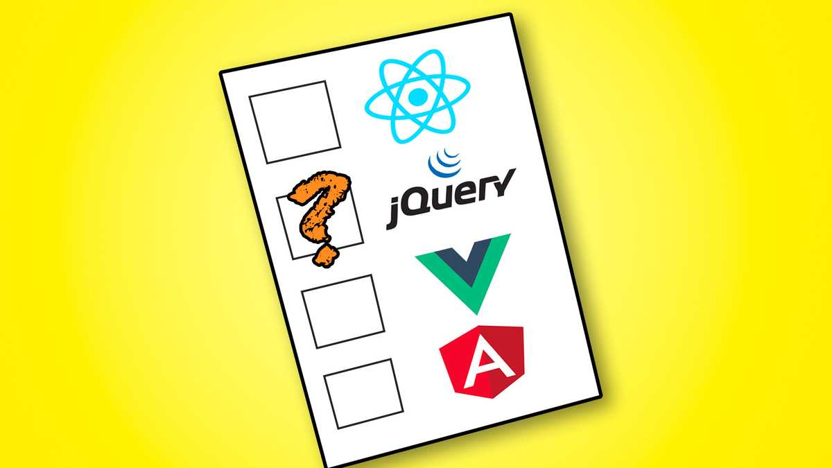 jQuery vs Vue, React and Angular Image'